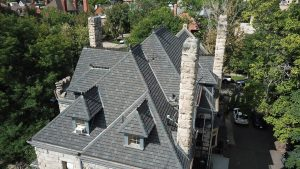 roof of The Castle home in Denver