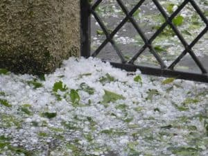 damaging hail on the ground in Denver, Colorado