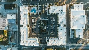 aerial view of buildings with TPO roofs