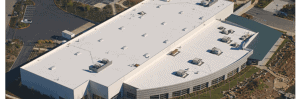 Aerial view of a white TPO roof, EPDM or TPO