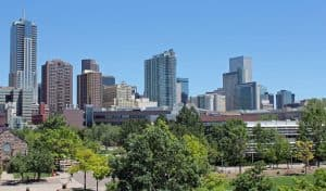 A view of the Denver skyline, history of Denver roofing contractors