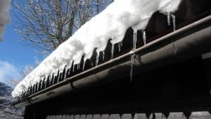 an icy roof edge